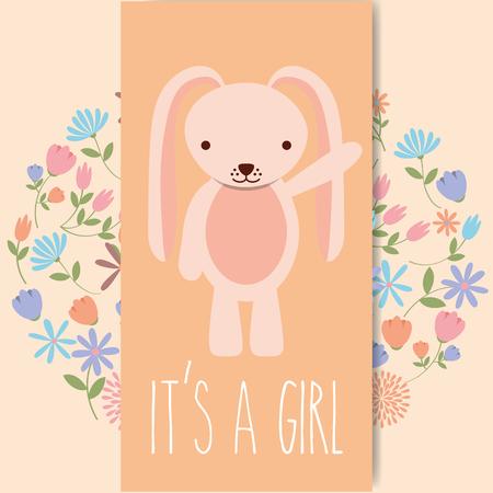 cute pink rabbit baby shower its a gril card vector illustration Ilustración de vector