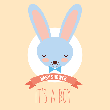cute blue rabbit face its a boy invitation card vector illustration