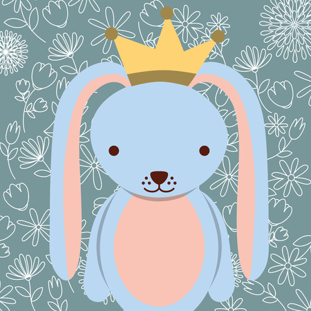 blue cute rabbit with crown floral background vector illustration