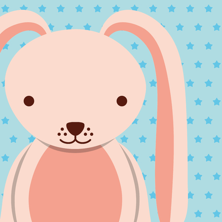 pink female rabbit with dotted background vector illustration Illustration