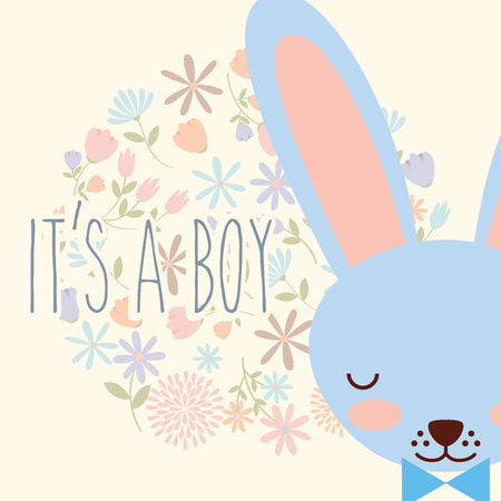 its a boy blue face rabbit with bow flowers vector illustration Stock Vector - 103705979
