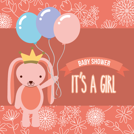 pink rabbit with balloons baby shower its a girl vector illustration