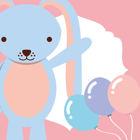 cute blue rabbit with balloons decoration vector illustration