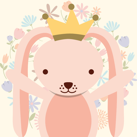 cute pink rabbit wearing crown flowers decoration vector illustration