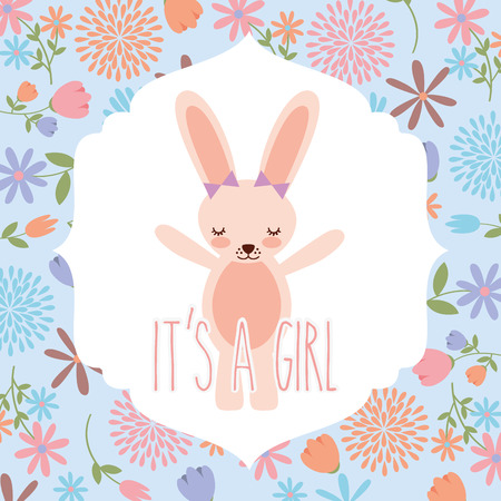 pink rabbit with bow baby shower its a girl vector illustration