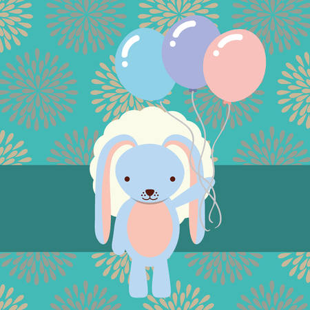 beautiful blue rabbit with party balloons flowers background vector illustration