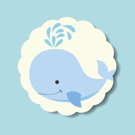 cute blue whale splash water label vector illustration Illustration