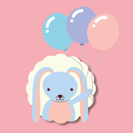 beautiful rabbit with balloons label decoration vector illustration