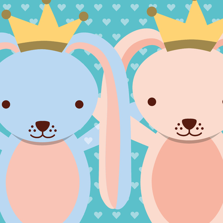 blue and pink rabbits wearing crown dots background vector illustration Illustration