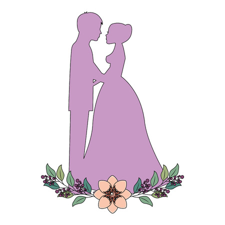 married couple silhouette with floral decoration vector illustration design 向量圖像