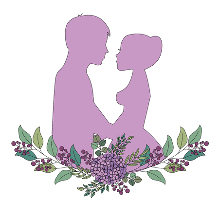 married couple silhouette with floral decoration vector illustration design Иллюстрация