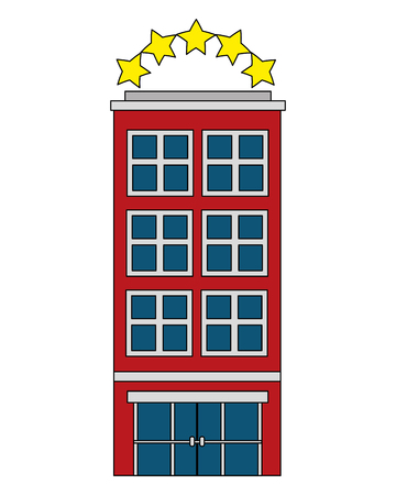 building hotel five stars isolated icon vector illustration design