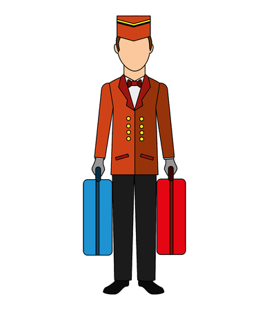 bellboy hotel worker with suitcases isolated icon vector illustration design