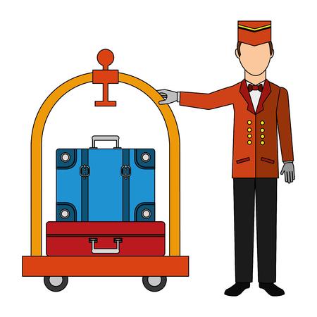 Piccolo hotel werknemer met kar hotel en koffers geïsoleerd pictogram vector illustratie ontwerp