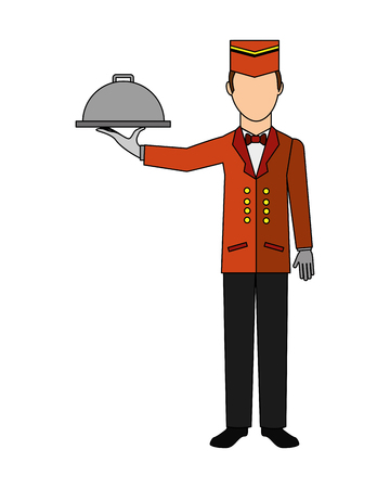 bellboy hotel worker with tray isolated icon vector illustration design