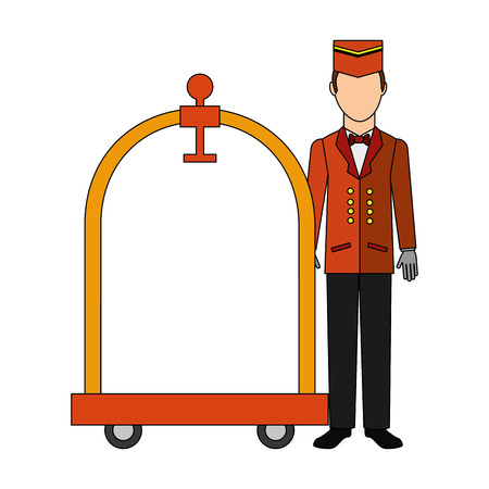 bellboy hotel worker with cart hotel isolated icon vector illustration design Illustration