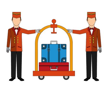 Employé d'hôtel groom avec panier hôtel et valises icône isolé vector illustration design Vecteurs