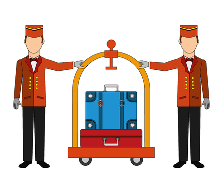 bellboys hotel worker with cart hotel and suitcases isolated icon vector illustration design Illustration