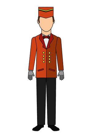 Employé de l'hôtel bellboy icône isolé vector illustration design