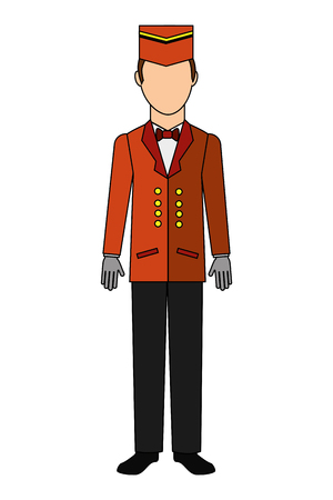 bellboy hotel worker isolated icon vector illustration design