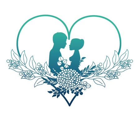 Pareja casada silueta con decoración floral en corazón, diseño de ilustraciones vectoriales