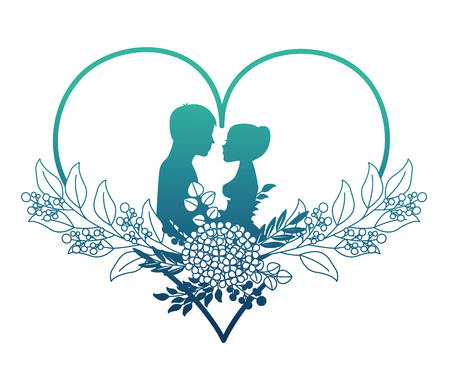 married couple silhouette with floral decoration in heart vector illustration design