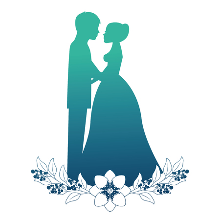 married couple silhouette with floral decoration vector illustration design Ilustração