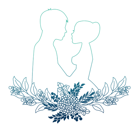 married couple silhouette with floral decoration vector illustration design Illustration