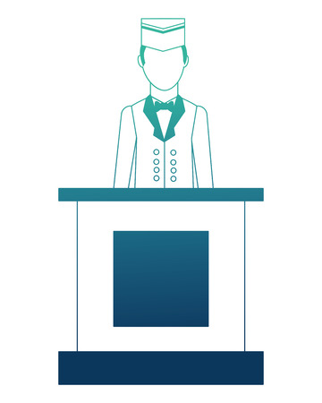 bellboy hotel worker in reception isolated icon vector illustration design