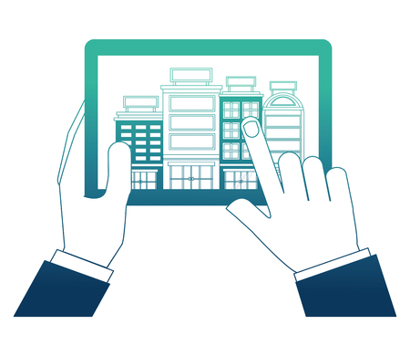 hand with device tablet and buildings hotel isolated icon vector illustration design