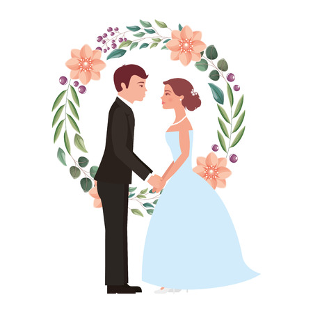 married couple with floral decoration icon vector illustration design Çizim