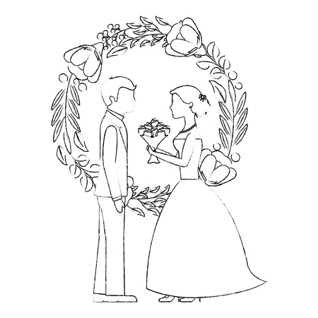 married couple with floral decoration icon vector illustration design Illustration