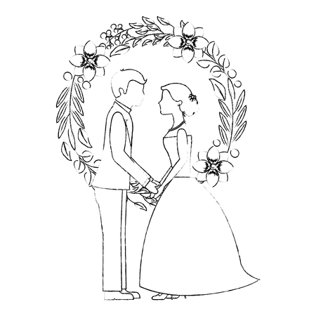 married couple with floral decoration icon vector illustration design Иллюстрация