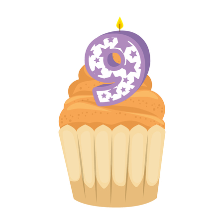 sweet cupcake with candle number nine vector illustration design Illusztráció