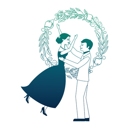 married couple with rose flower decoration icon vector illustration design