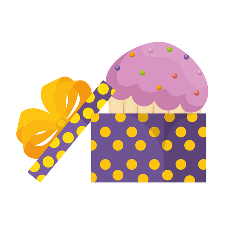 sweet cupcake pastry in gift vector illustration design