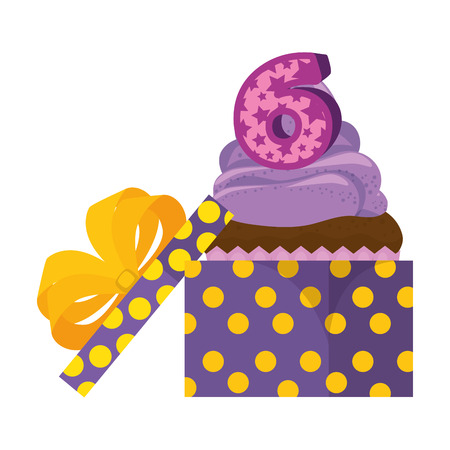 sweet cupcake with candle number six in gift vector illustration design