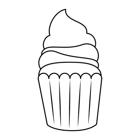sweet cupcake pastry icon vector illustration design