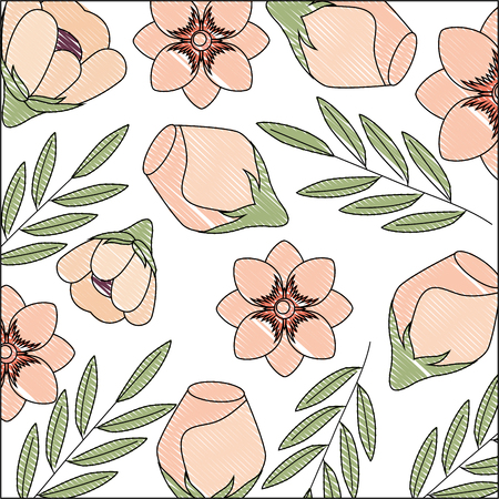 roses peony flowers branch leaves foliage background vector illustration drawing