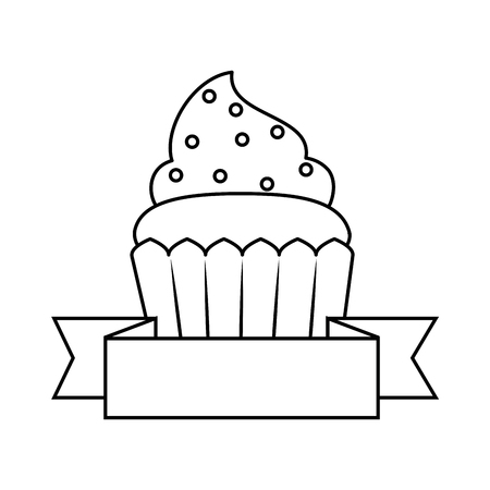 sweet cupcake pastry with ribbon vector illustration design