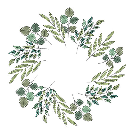 wreath floral leaves ornament decoration vector illustration drawing