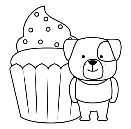 sweet cupcake with cute dog vector illustration design