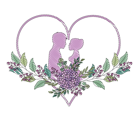 couple in love heart flowers decoration vector illustration drawing