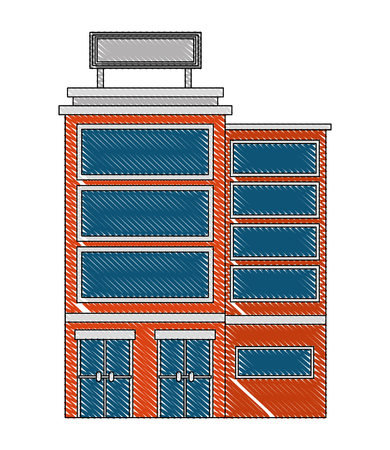 hotel building facade billboard in roof vector illustration drawing