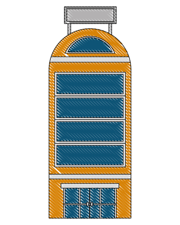 hotel building facade billboard in roof vector illustration drawing Banco de Imagens - 103706306