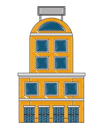 hotel building facade billboard in roof vector illustration drawing