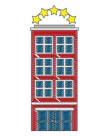 hotel building facade billboard in roof vector illustration drawing Banco de Imagens - 103706314
