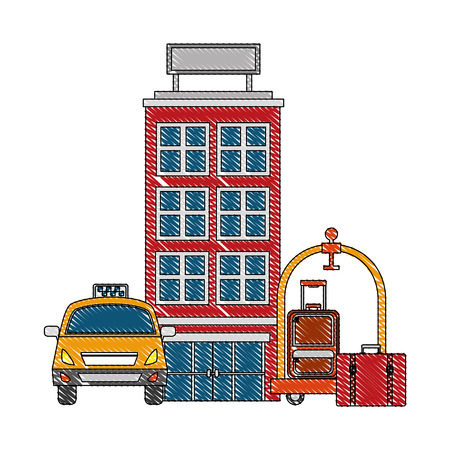 accommodation building luxury hotel taxi luggage trolley vector illustration drawing