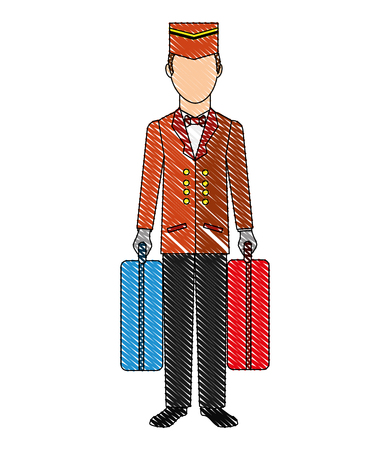 hotel bellboy carrying suitcases service vector illustration drawing