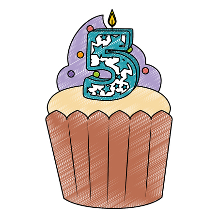 sweet cupcake with candle number five vector illustration design